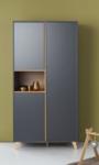 Quax Loft kledingkast 3 deuren grijs/naturel beuken