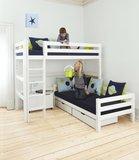 Hoppekids Premium hoek stapelbed 90x200 rechte trap grenen wit_