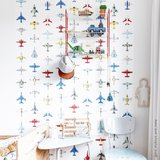 Studio Ditte behang vliegtuigjes wit
