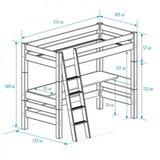Beddyfurn Nuova hoogslaper 90x200 + bureau +schuine trap deelbaar grenen wit_