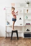 Hoppekids Storey wandkast met 2 planken en bureaublad 86 cm breed