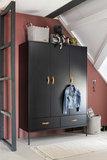 Coming kids Bliss 3 deurs metaal-hout hang-legkast zwart