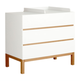 Quax Indigo commode 3 lades wit/naturel beuken