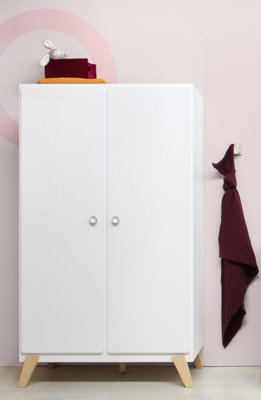 Bopita Mila 2 deurs kledingkast wit - naturel