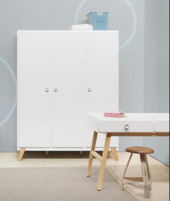 Bopita Mila 3 deurs kledingkast wit - naturel