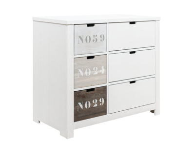 Bopita Basic wood Commode 3 laden -3 open vakken white wash