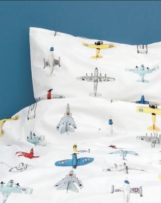 Studio Ditte vliegtuigjes dekbedovertrek junior wit