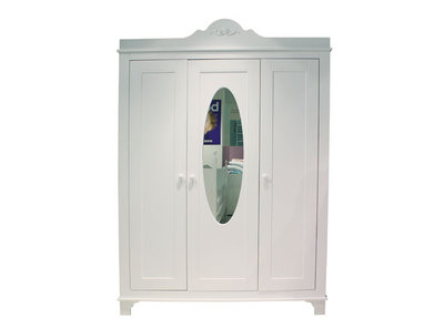 Bopita Romantic 3 deurs kleding kast met spiegel wit