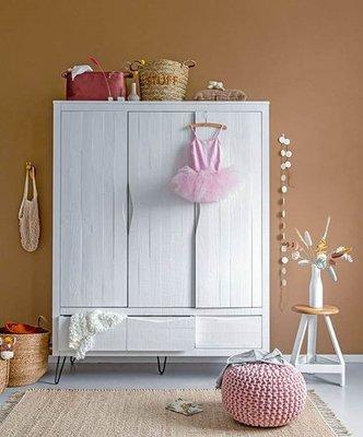Coming kids Xenia kledingkast 3 deuren + 2 lade antraciet