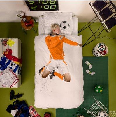 Snurk dekbedovertrek Soccer Orange 140x200/220