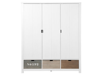 Bopita Basic wood 3 deurs kleding kast white wash