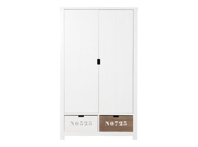 Bopita Basic wood 2 deurs kleding kast xl white wash