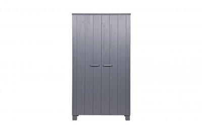 Woood Dennis 2 deurs kleding kast grenen staal grijs