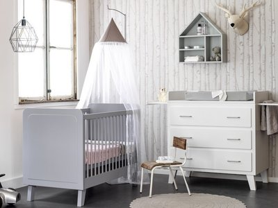Coming kids Scandi design ledikant 60x120 grijs