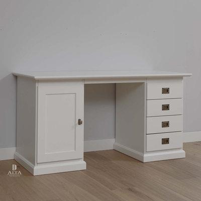Alta 5470 bureau met laden en kastje grenenhout wit