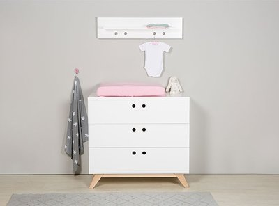 Bopita Lynn 3 laden design commode wit - naturel