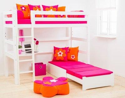 Hoppekids Megabed hoogslaper premium 90 x 200 rechte trap+zitje+hoek bureau