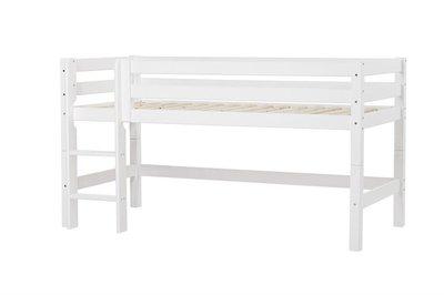 Hoppekids halfhoogslaper premium XXL 90 x 200 rechte trap grenen wit
