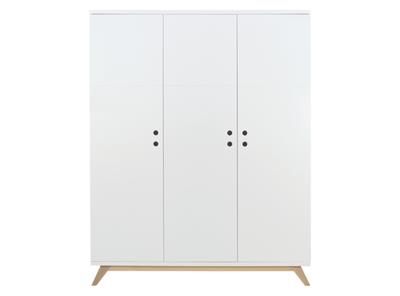 Bopita Lynn 3 deurs design kleding kast wit - naturel