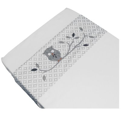 Taftan baby laken 100x80 uiltje grijs