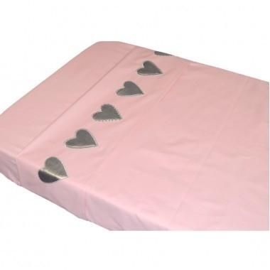 Taftan baby laken 100x80 roze hartjes silver
