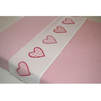 Taftan baby laken 100x80 hartjes ruit roze