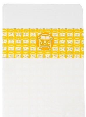 Taftan baby laken 120x150 busje geel