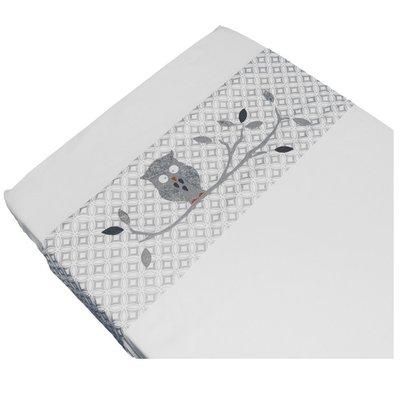 Taftan baby laken 120x150 uiltje grijs