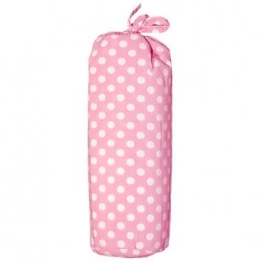 Taftan hoeslaken polkadots roze