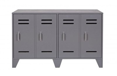 Woood Stijn locker dressoir laag 2 deurs staal grijs