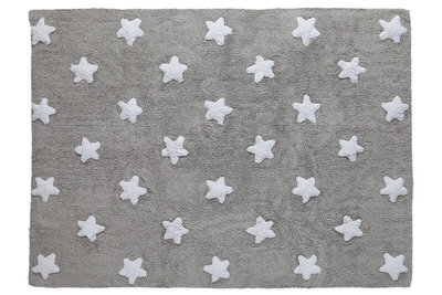Lorena Canals star cotton vloerkleed grey-white