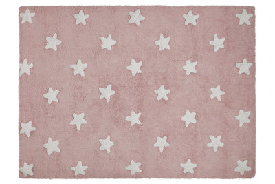 Lorena Canals star cotton vloerkleed pink