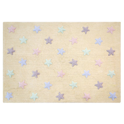 Lorena Canals star tricolor cotton vloerkleed vanilla