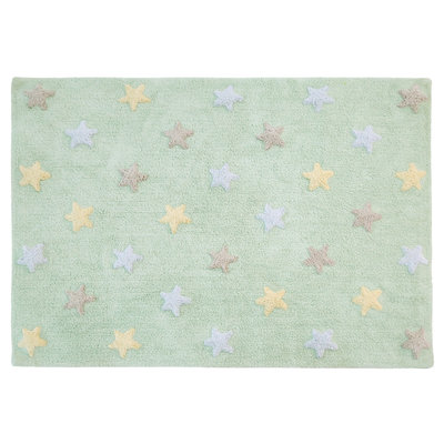Lorena Canals star tricolor cotton vloerkleed mint