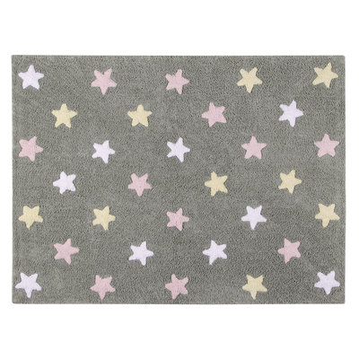 Lorena Canals star tricolor cotton vloerkleed grey/pink