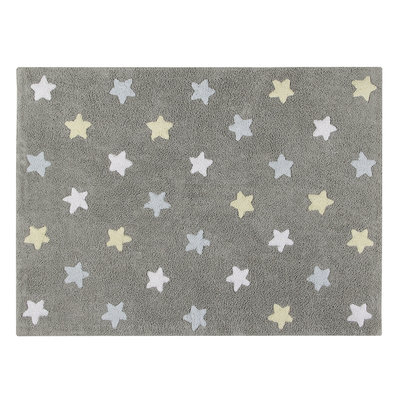 Lorena Canals star tricolor cotton vloerkleed grey/blue