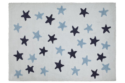 Lorena Canals messy star cotton vloerkleed wit/marine