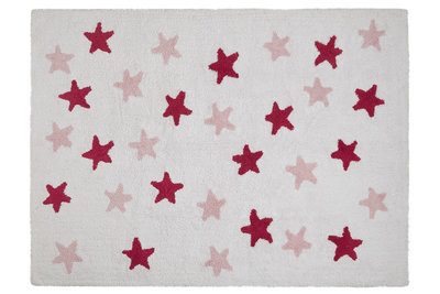 Lorena Canals messy star cotton vloerkleed wit/pink