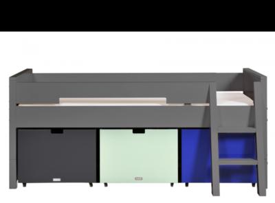 Bopita combiflex compactbed 90 x 200 inclusief bakken en trap deep grey