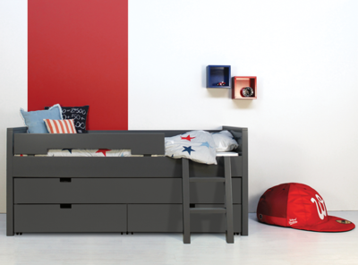 Bopita bed Timo 90x200 3 in 1 bed met slaap/opberglade deep grey