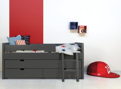 Bopita bed Timo 90x200 3 in 1 bed met slaap/opberglade deep grey