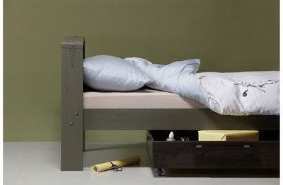 Woood Derek bed +lade 90x200 forrest/charcoal grenen