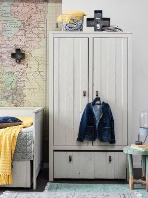 Stapelgoed Loft 2 deurs kast + lade op wielen hout grijs