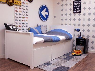 lilli furniture Jamie 90x200 + 3 grote opberglades wit