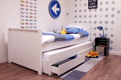 Lilli furniture bed Jamie 90x200 + 3 in 1 slaap/opberglade wit
