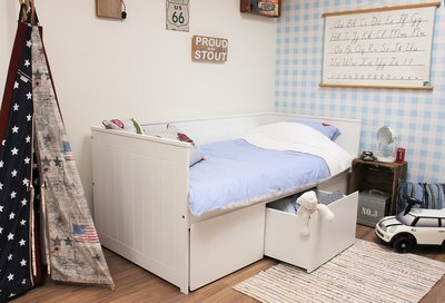 lilli furniture bedbank Nanne 90x200 + 3 grote opberglades wit