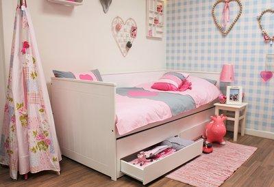 lilli furniture bedbank Nanne 90x200 + 3 in 1 slaap/opberglade wit
