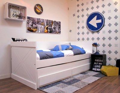 lilli furniture bedbank Sem 90x200 + 3 in 1 slaap/opberglade wit
