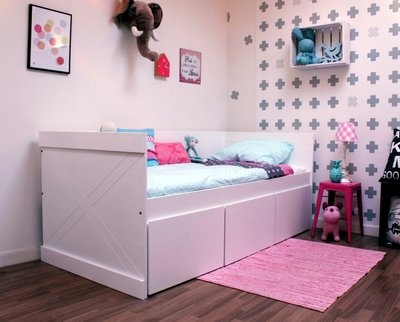 Lilli furniture bedbank Sem 90x200 + 3 grote opberglades wit