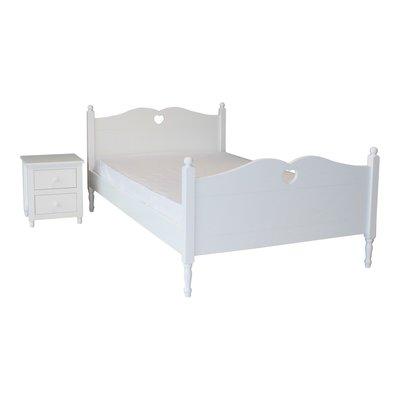 lilli furniture twijfelaar bed Emma met hartje 120x200 wit